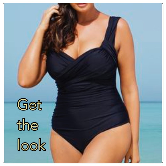 61e0f34450a8c NWT slimming black plus size one piece swimwear